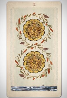 Pagan Otherworlds tarot deck by UUSI. Two of Pentacles