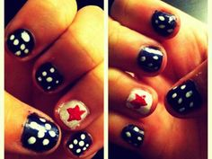 Switching out stripes for dots makes Danielle's patriotic mani feel a little more feminine.
