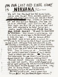 Kurt Cobain letter  #Nirvana
