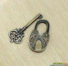 Antique Long Neck Flowers Carved PADLOCK with BIG SKELETON Keys Solid Brass Vintage Lock via Etsy