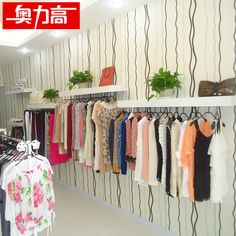 Clothing store clothes rack display clothing display rack clothes rack clothes rack wall hanging white high-grade