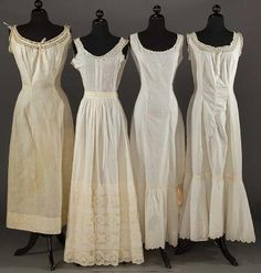 Lot: FOUR WHITE PRINCESS SLIPS, 1900-1910, Lot Number: 0042, Starting Bid: $75, Auctioneer: Augusta Auctions, Auction: COUTURE, HISTORIC & VINTAGE CLOTHING AUCTION, Date: May 9th, 2017 EDT