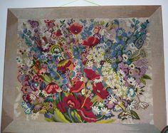 tapisserie canevas vintage fait main au demi point sur trame XXL motif fleurs, coquelicots french completed tapestry