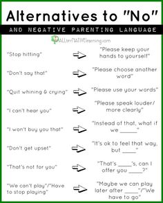 """Alternatives to saying """"no"""" to your kids."""