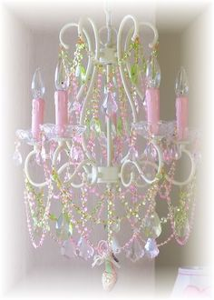 5 Light Diva Chandelier with Pink and Green Crystals ships free. Rose Cottage, Shabby Chic Cottage, Shabby Chic Decor, Garden Cottage, Green Chandeliers, 5 Light Chandelier, Girls Chandelier, Deco Luminaire, Ideias Diy