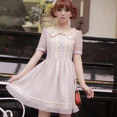 Spring 2013 dress Chiffon Slim dimensional embroidery lace collar dress sweet floral dress doll free shipping - Taobao