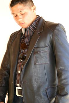 Deerskin sportscoat made to order with matching belt #mens fashion #mens leather #custom leather jackets #jackie robbins