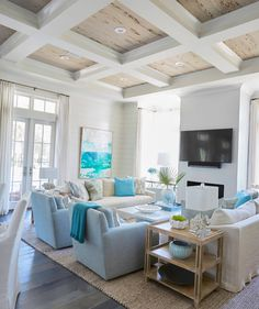 coastal living rooms Cozy white and blue beach house style living room decor with slipcovered sofas coastal living room Beach Living Room, Decor Home Living Room, Coastal Living Rooms, Living Room Remodel, Coastal Cottage, Coastal Homes, Coastal Farmhouse, Living Room Ceiling Ideas, Living Room Decorations