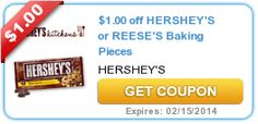 Super-rare new $1/2 Hershey's or Reese's Baking Pieces printable coupon!  - http://printgreatcoupons.com/2013/12/18/super-rare-new-12-hersheys-or-reeses-baking-pieces-printable-coupon/