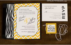 Paper details by Designs Black and Yellow Wedding Ideas with Chevron and Zebra Print Photographed by Studio EMP Stationery Design, Invitation Design, Wedding Stationery, Yellow Chevron, Black N Yellow, Batman Invitations, Wedding Blog, Wedding Ideas, Interracial Love