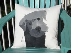 Dog pillow Schnauzer 20x20 outdoor black schnauzer by crabbychris, $45.00