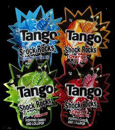 Tango Shock Rocks Popping Candy + Lollipop Orange, Apple, Cherry, Blue Raspberry