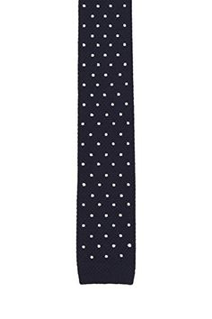 Notch Men's Knitted Necktie – YALE – Black wool knit with white polka dots.  http://www.yourneckties.com/notch-mens-knitted-necktie-yale-black-wool-knit-with-white-polka-dots-2/
