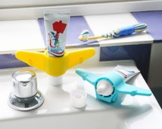 Aeroplane Toothpaste Holder at STORE. Silicone aeroplane toothpaste holder to add a splash of colour and fun to the horrors o. Kids Toothpaste, Toothpaste Holder, Toothbrush Holder, Bathroom Sink Storage, Bathroom Kids, Bathrooms, Design3000, Shops, Sink Accessories