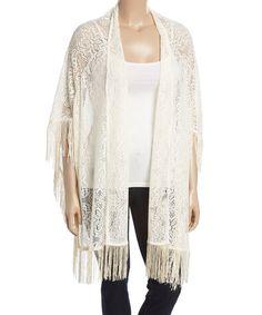 Loving this Light Khaki Floral Lace Fringe-Hem Kimono on #zulily! #zulilyfinds