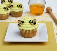 For the bumble bee's, cut yellow and black jelly beans and use sliced almonds for the wings