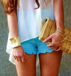 Scalloped bright jean shorts with sheer white top + gold bangle