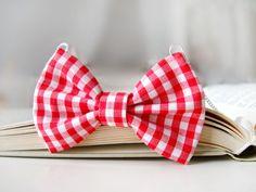 vichy print fabric bow