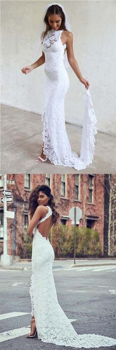 High Neckline Lace Backless Mermaid Wedding Dresses With Court Train