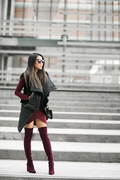 Layered Vests :: Quilted Vest & Burgundy boots :: Outfit ::  Top :: Oak long vest , Helmut Lang shearling vest  Dress :: ASOS Shoes :: Stuart Weitzman Bag :: Chanel Accessories :: Karen Walker sunglasses, Rolex watch, Wanderlust + Co ring Published: January 6, 2016