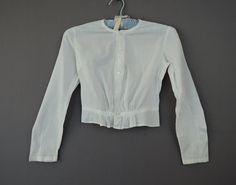 1900s Edwardian Teen Girl's or XXS Woman's Edwardian Cotton Blouse, 29 Bust, 22 waist by dandelionvintage on Etsy