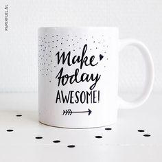 Paperfuel handlettering mug Make today awesome