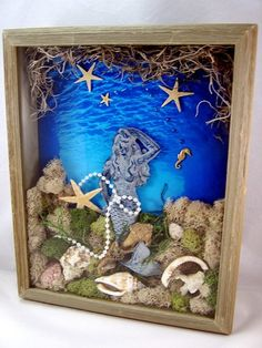 3D, Mixed Media, Art Collage, Mermaid Shadow Box Original