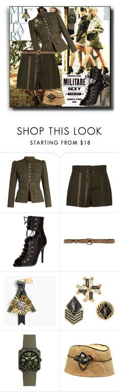 """Soldier Girl"" by kelly-floramoon-legg ❤ liked on Polyvore featuring Marc Jacobs, Proenza Schouler, Kendall + Kylie, Carla G., J.Crew, Yves Saint Laurent and Bell & Ross"
