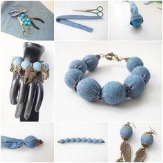 DIY Denim Wrapped Beads Bracelet  https://www.facebook.com/icreativeideas
