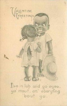 Portray them as ignorant. Racist stereotype Black Americana Postcard
