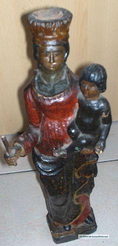 black madonna statue | Old Polygrome Black Madonna Statue Carved Figures photo