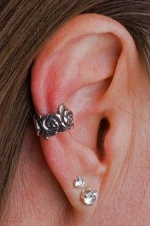 silver rose ear cuff