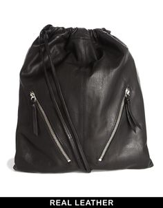 Buy ASOS Leather Drawstring Backpack with Double Zips at ASOS. With free delivery and return options (Ts&Cs apply), online shopping has never been so easy. Get the latest trends with ASOS now. Leather Drawstring Bags, Drawstring Backpack, Leather Bags, Backpack Purse, Leather Backpack, Asos, Best Bags, Leather Dresses, Custom Bags