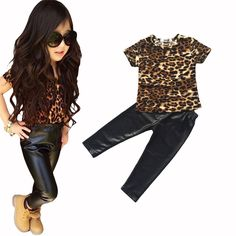 1 Set Retail New bebe fashion cool street kids girls clothes set Leopard printed T-shirt PU skinny leather pants legging 2 pcs #Affiliate