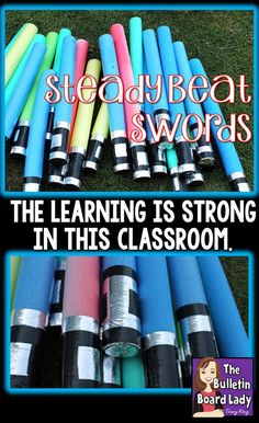 Pool noodles magically transform into light saber inspired steady beat swords in…