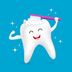 Healthy tooth character brushing with smiley face. Dental care concept. Illustration isolated on blue background.