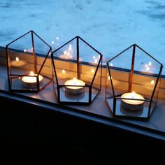 Wedding Votive Candle, Gold Votive Candle Holder, Geometric Candle Holder, Stained Glass Lighting