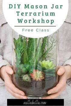 This is a hands on workshop building a terrarium using a classic mason jar – a perfect home for your new succulent. A terrarium is an easy and fun way to bring the beauty of nature inside your home! Join us to make yours today. Terrarium Workshop, Build A Terrarium, Mason Jar Terrarium, Mason Jar Diy, Cute Diys, You Are Awesome, Easy Gifts, Diy Tutorial, Diy Ideas