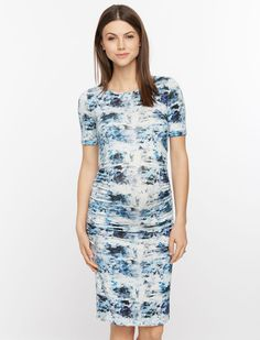 A Pea in the Pod Isabella Oliver Short Sleeve Side Ruched Maternity Shirt Dress