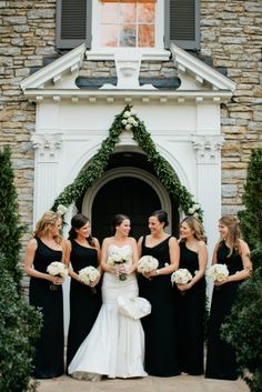 Black and white wedding in Nashville by Kristyn Hogan. I love these long black bridesmaid dresses!
