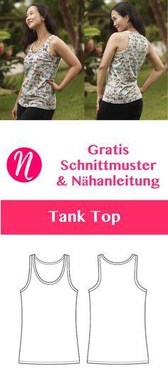 Gratis Schnittmuster Tank Top für Damen. Größe 34 - 50. PDF-Schnitt zum Ausdrucken. Einfach für Anfänger ❤ Nähtalente - Magazin für kostenlose Schnittmuster - Free sewing pattern for a woman tank top. Size 0 - 20