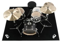 dwcpRUG2 - The 62x78-inch DW Drum rug is made from black industrial-grade carpet and includes a non-skid rubber underside with silver cut-out DW logos in each corner. Can be used a studio or gig rug and provides excellent traction and isolation.