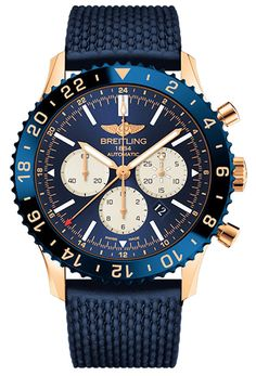 Breitling Chronoliner B04 Rose Gold (Limited Edition) 250 pzs Case Rose Gold 18k Dial color: Blue Strap Bezel; Ceramic color: Blue Strap material: Rubber Movement: Automatic Selfwinding Reference number: RB046116/C972/276S Water resistance: 100 m (328 ft) Crystal: Sapphire Glass Case Diameter [mm]: 46.0 Thickness [mm]: 16.85