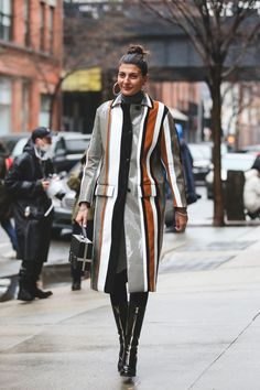 Have to try a turtleneck under  collared coat (in my case, a leopard print coat) - NYFW Street Style Pictures Fall Winter 2016
