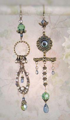 Custom Denim Blue, a custom set of asymmetrical earrings by MiaMontgomery on Etsy