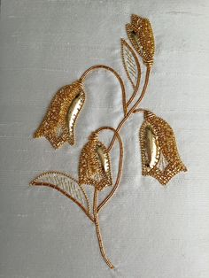 Completed Harebell goldwork kit from Golden Hinde. Zardozi Embroidery, Hand Work Embroidery, Types Of Embroidery, Gold Embroidery, Embroidery Fashion, Hand Embroidery Patterns, Embroidery Stitches, Embroidery Designs, Bordados Tambour