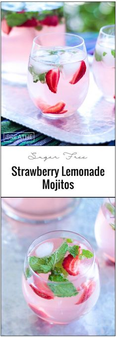 These easy and refreshing sugar free strawberry lemonade mojitos have been my go to keto cocktail all summer long!