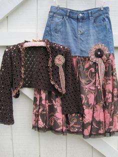 Boho cowgirl skirt Prairie skirt denim denim by ShabyVintage, $42.90
