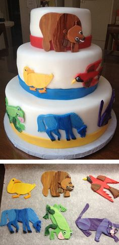 """Brown bear cake - like the animals - but the """"cake"""" needs more decor - multi colored polka dots ?"""