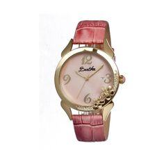 Bertha Daisy Mother of Pearl Dial Pink Leather Ladies Watch ($300) ❤ liked on Polyvore featuring jewelry, watches, crown jewelry, daisy crown, dial watches, pink wrist watch and analog watches